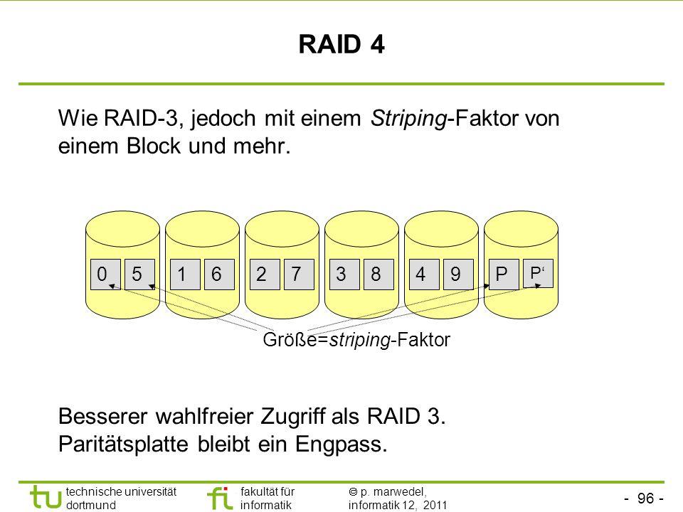 - 95 - technische universität dortmund fakultät für informatik p. marwedel, informatik 12, 2011 RAID 3 (dedicated parity) Es nur ein einzelnes Parität