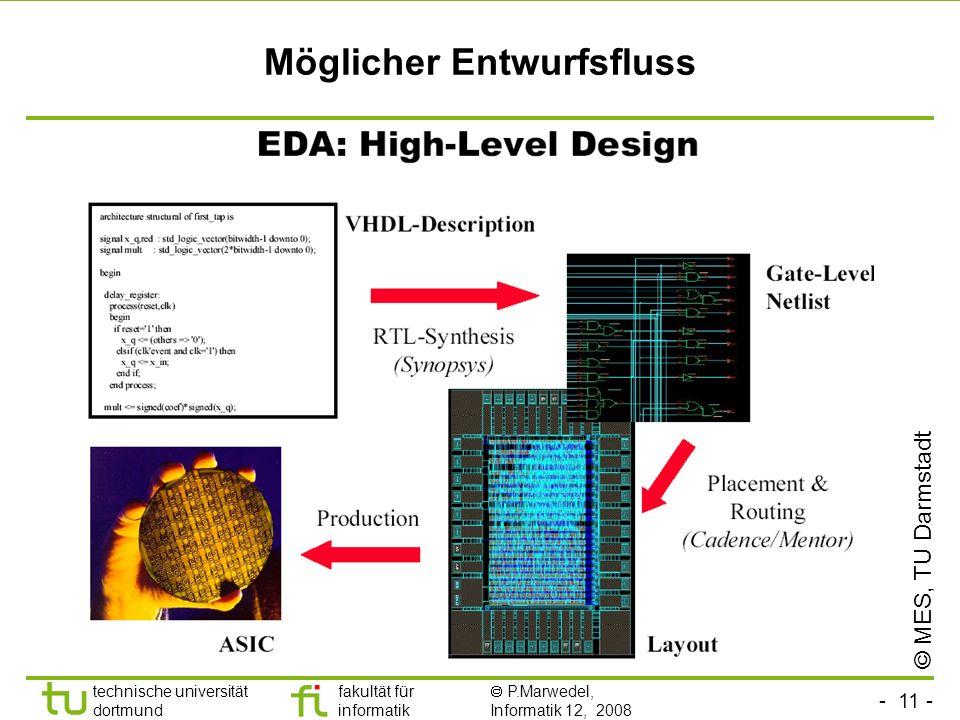 - 11 - technische universität dortmund fakultät für informatik P.Marwedel, Informatik 12, 2008 Möglicher Entwurfsfluss © MES, TU Darmstadt