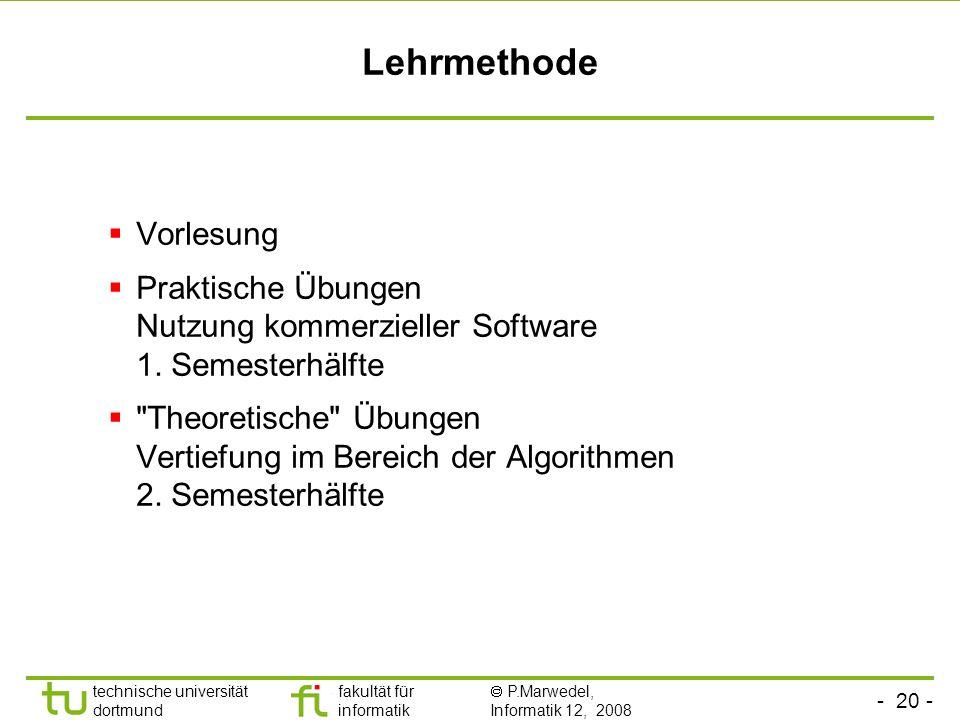 - 20 - technische universität dortmund fakultät für informatik P.Marwedel, Informatik 12, 2008 Lehrmethode Vorlesung Praktische Übungen Nutzung kommerzieller Software 1.