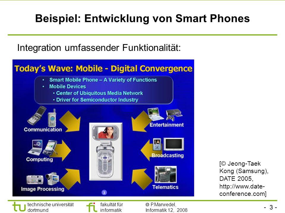 - 3 - technische universität dortmund fakultät für informatik P.Marwedel, Informatik 12, 2008 Beispiel: Entwicklung von Smart Phones Integration umfassender Funktionalität: [© Jeong-Taek Kong (Samsung), DATE 2005, http://www.date- conference.com]