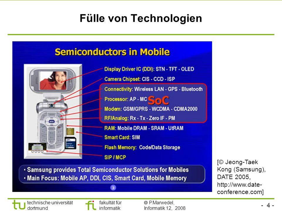 - 4 - technische universität dortmund fakultät für informatik P.Marwedel, Informatik 12, 2008 Fülle von Technologien [© Jeong-Taek Kong (Samsung), DAT