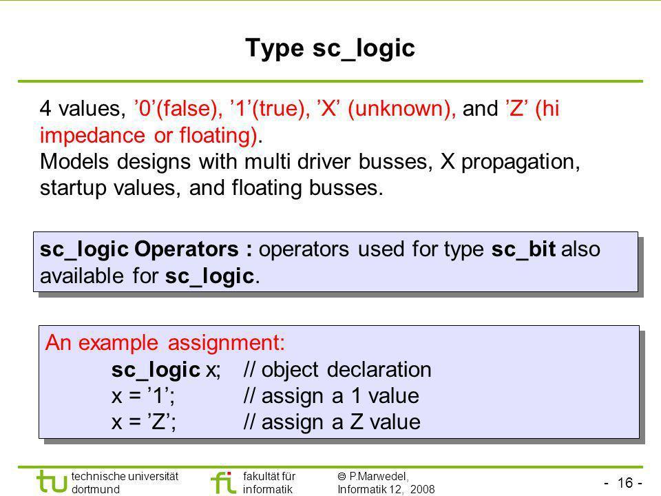 - 16 - technische universität dortmund fakultät für informatik P.Marwedel, Informatik 12, 2008 Universität Dortmund Type sc_logic 4 values, 0(false),