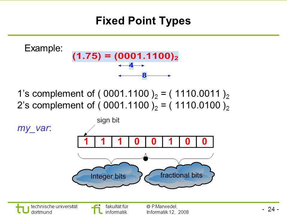 - 24 - technische universität dortmund fakultät für informatik P.Marwedel, Informatik 12, 2008 Universität Dortmund Fixed Point Types 1s complement of