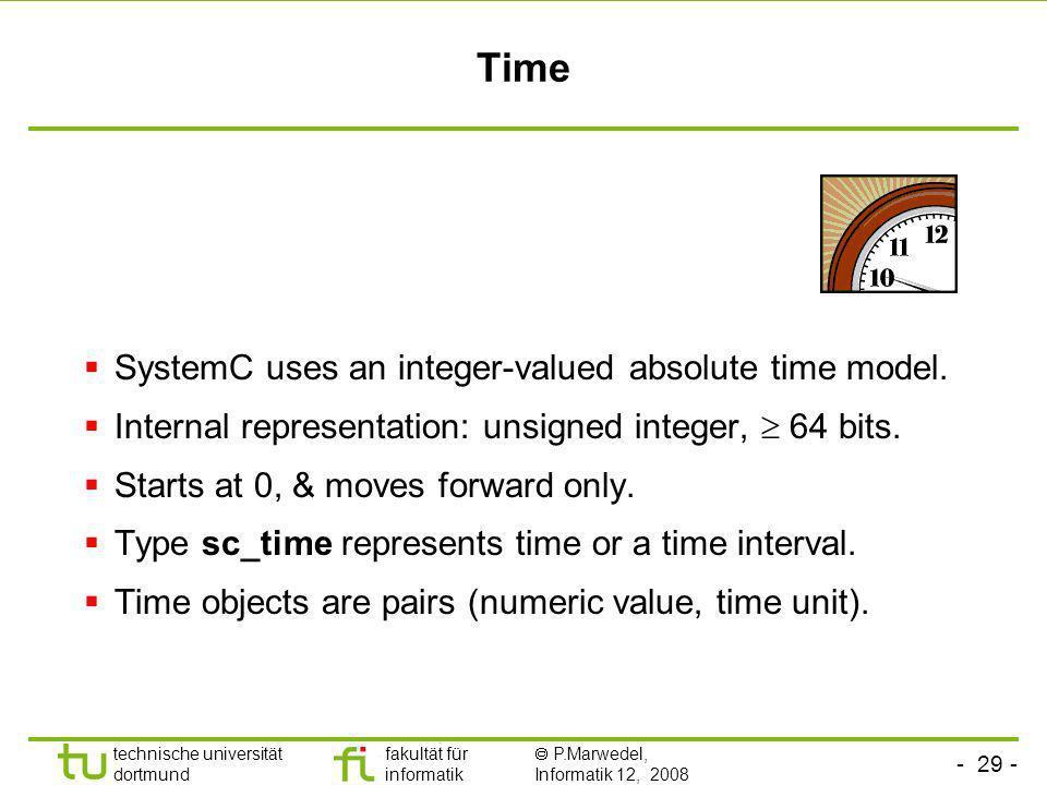 - 29 - technische universität dortmund fakultät für informatik P.Marwedel, Informatik 12, 2008 Universität Dortmund Time SystemC uses an integer-value