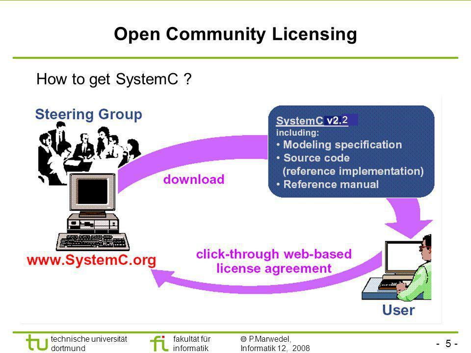 - 5 - technische universität dortmund fakultät für informatik P.Marwedel, Informatik 12, 2008 Universität Dortmund Open Community Licensing How to get