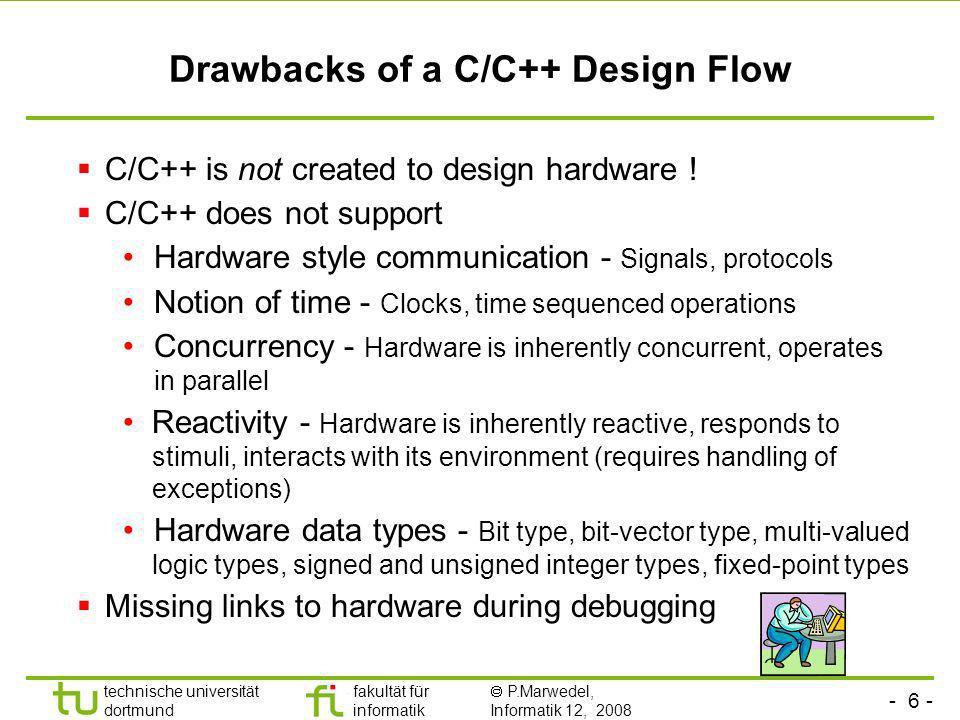 - 6 - technische universität dortmund fakultät für informatik P.Marwedel, Informatik 12, 2008 Universität Dortmund Drawbacks of a C/C++ Design Flow C/