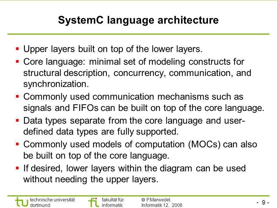 - 40 - technische universität dortmund fakultät für informatik P.Marwedel, Informatik 12, 2008 Universität Dortmund Hello World in SystemC #ifndef HELLO_SYSTEMC_H #define HELLO_SYSTEMC_H //FILE:Hello_SystemC.h #include SC_MODULE(Hello_SystemC) { sc_in_clk clk_pi; void Hello_SystemC::main_method(void); SC_CTOR(Hello_SystemC) { SC_METHOD(main_method); sensitive << clk_pi.neg(); dont_initialize(); } }; #endif //FILE:main.cpp #include int sc_main(int argc, char* argv[]) { const sc_time t_PERIOD(8,SC_NS); sc_clock clk( clk ,t_PERIOD); Hello_SystemC iHello_SystemC ( iHello_SystemC ); iHello_SystemC.clk_pi(clk); sc_start(10); return 0; } //FILE:Hello_SystemC.cpp #include void Hello_SystemC::main_method(void) {std::cout << sc_time_stamp() << Hello world! << std::endl; } Source & ©: D.