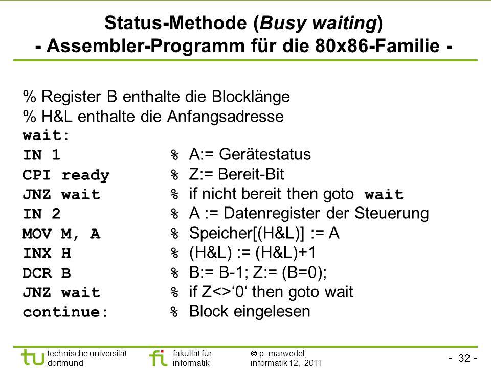 - 31 - technische universität dortmund fakultät für informatik p. marwedel, informatik 12, 2011 Status-Methode (Busy waiting) - Prinzip der Warteschle