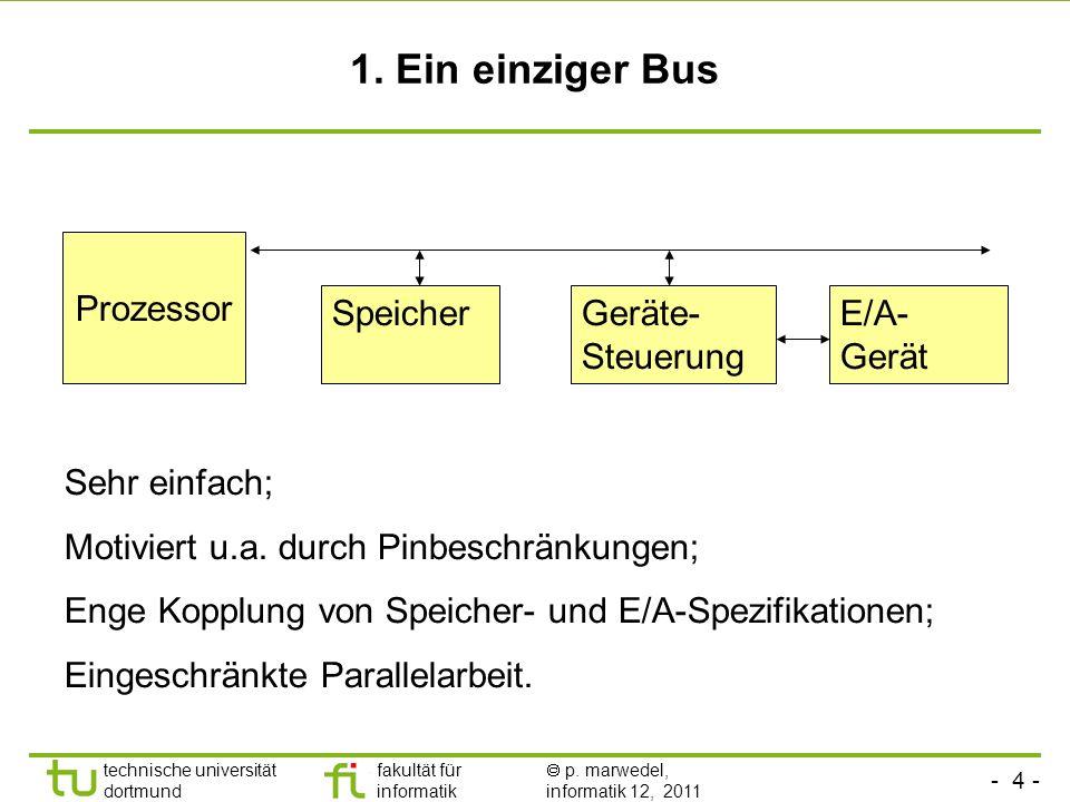 - 3 - technische universität dortmund fakultät für informatik p. marwedel, informatik 12, 2011 Wie sieht das interne Verbindungsnetzwerk aus? Bussyste