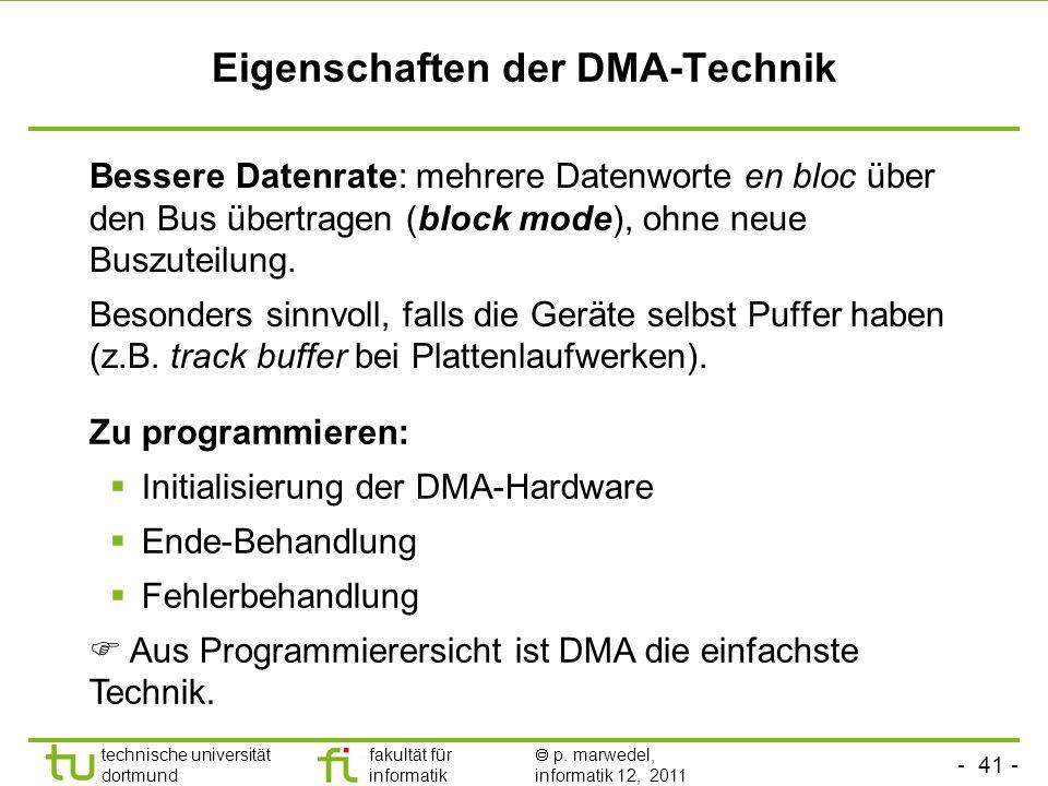 - 40 - technische universität dortmund fakultät für informatik p. marwedel, informatik 12, 2011 Direct memory access (DMA) - Beispiel: Motorola 68000e