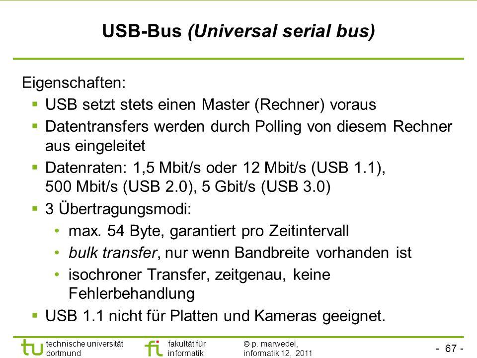 - 66 - technische universität dortmund fakultät für informatik p. marwedel, informatik 12, 2011 Bitorientierte Übertragung Beim Sender: innerhalb der