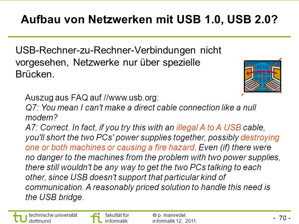 - 69 - technische universität dortmund fakultät für informatik p. marwedel, informatik 12, 2011 Verbindungen zwischen Rechnern und Hubs (USB 1.0, USB