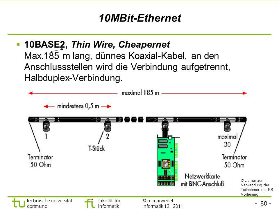 - 79 - technische universität dortmund fakultät für informatik p. marwedel, informatik 12, 2011 Ethernet Arbitrierungsverfahren (fast) wie beim Äther: