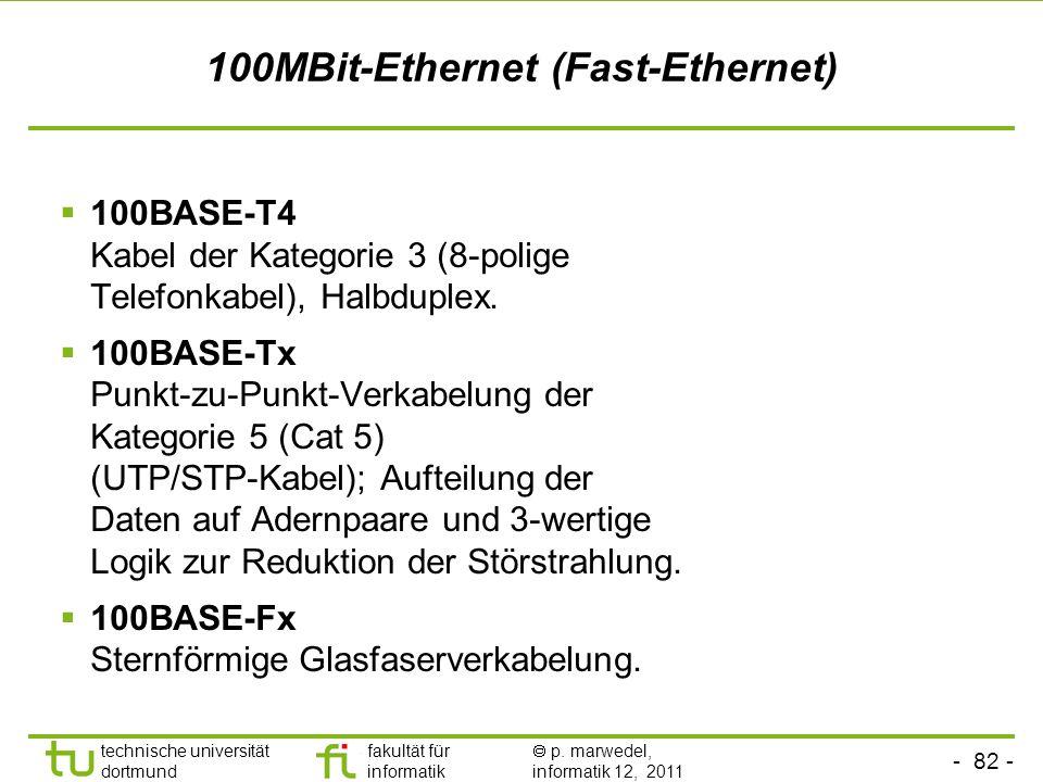 - 81 - technische universität dortmund fakultät für informatik p. marwedel, informatik 12, 2011 10MBit-Ethernet 10BASE-T, TwistedPair Max 100m lang, v