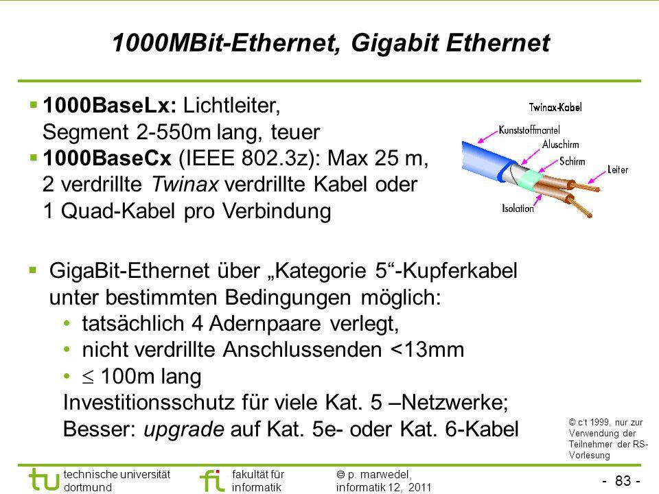 - 82 - technische universität dortmund fakultät für informatik p. marwedel, informatik 12, 2011 100MBit-Ethernet (Fast-Ethernet) 100BASE-T4 Kabel der