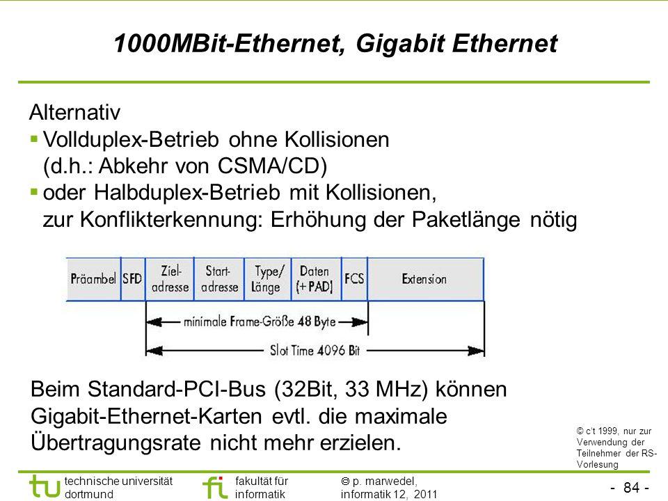 - 83 - technische universität dortmund fakultät für informatik p. marwedel, informatik 12, 2011 1000MBit-Ethernet, Gigabit Ethernet 1000BaseLx: Lichtl