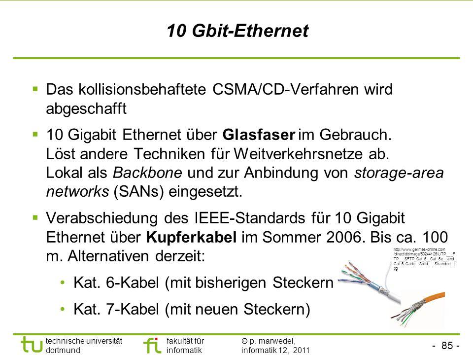 - 84 - technische universität dortmund fakultät für informatik p. marwedel, informatik 12, 2011 1000MBit-Ethernet, Gigabit Ethernet © ct 1999, nur zur