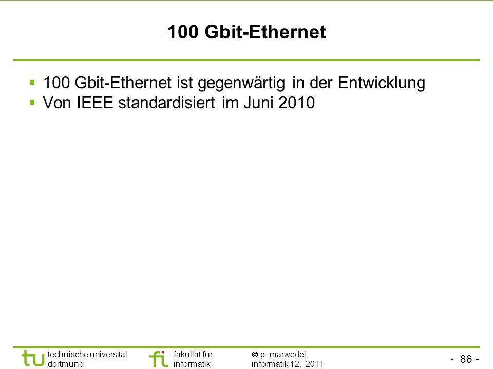 - 85 - technische universität dortmund fakultät für informatik p. marwedel, informatik 12, 2011 10 Gbit-Ethernet Das kollisionsbehaftete CSMA/CD-Verfa