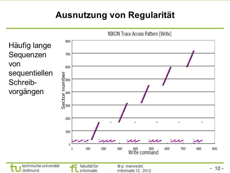 - 10 - technische universität dortmund fakultät für informatik p. marwedel, informatik 12, 2012 Ausnutzung von Regularität Häufig lange Sequenzen von
