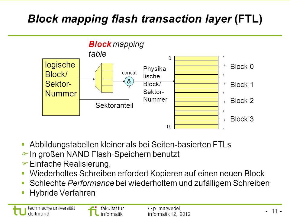 - 11 - technische universität dortmund fakultät für informatik p. marwedel, informatik 12, 2012 Block mapping flash transaction layer (FTL) Abbildungs