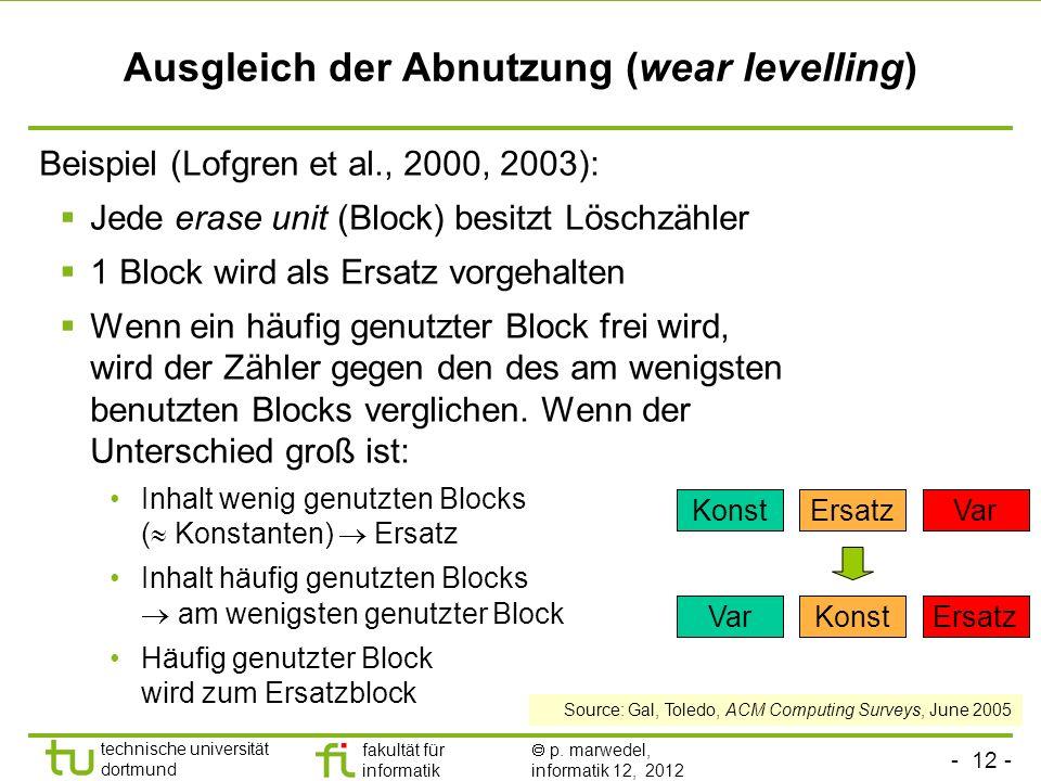 - 12 - technische universität dortmund fakultät für informatik p. marwedel, informatik 12, 2012 Ausgleich der Abnutzung (wear levelling) Beispiel (Lof