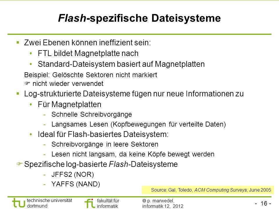 - 16 - technische universität dortmund fakultät für informatik p. marwedel, informatik 12, 2012 Flash-spezifische Dateisysteme Zwei Ebenen können inef