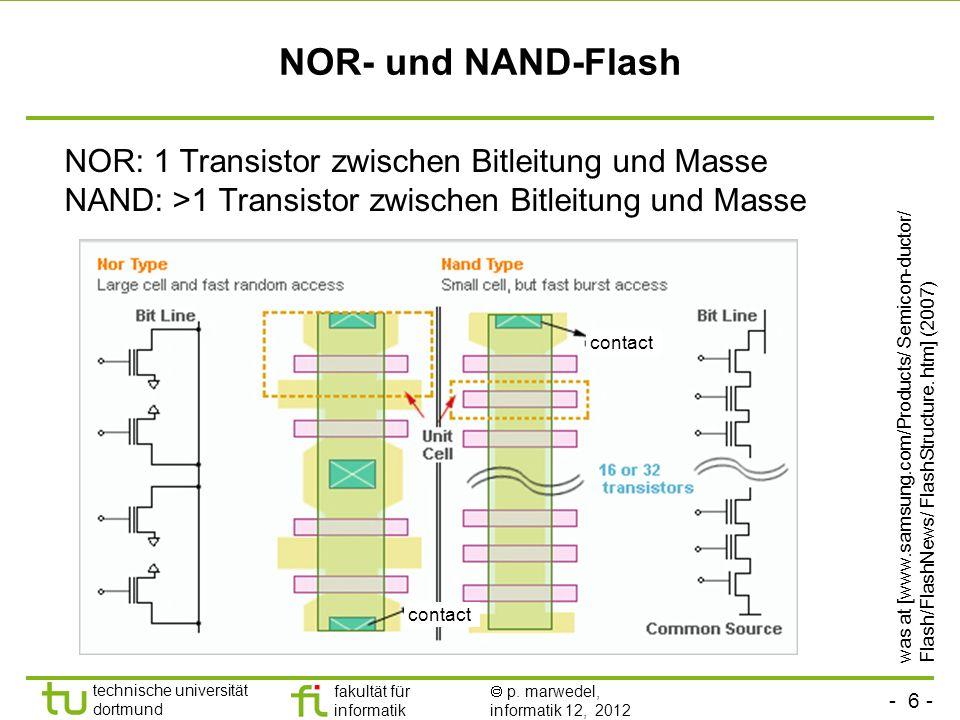 - 6 - technische universität dortmund fakultät für informatik p. marwedel, informatik 12, 2012 NOR- und NAND-Flash NOR: 1 Transistor zwischen Bitleitu