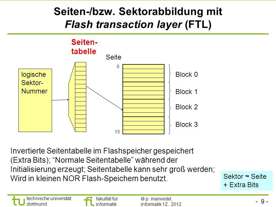 - 9 - technische universität dortmund fakultät für informatik p. marwedel, informatik 12, 2012 Seiten-/bzw. Sektorabbildung mit Flash transaction laye