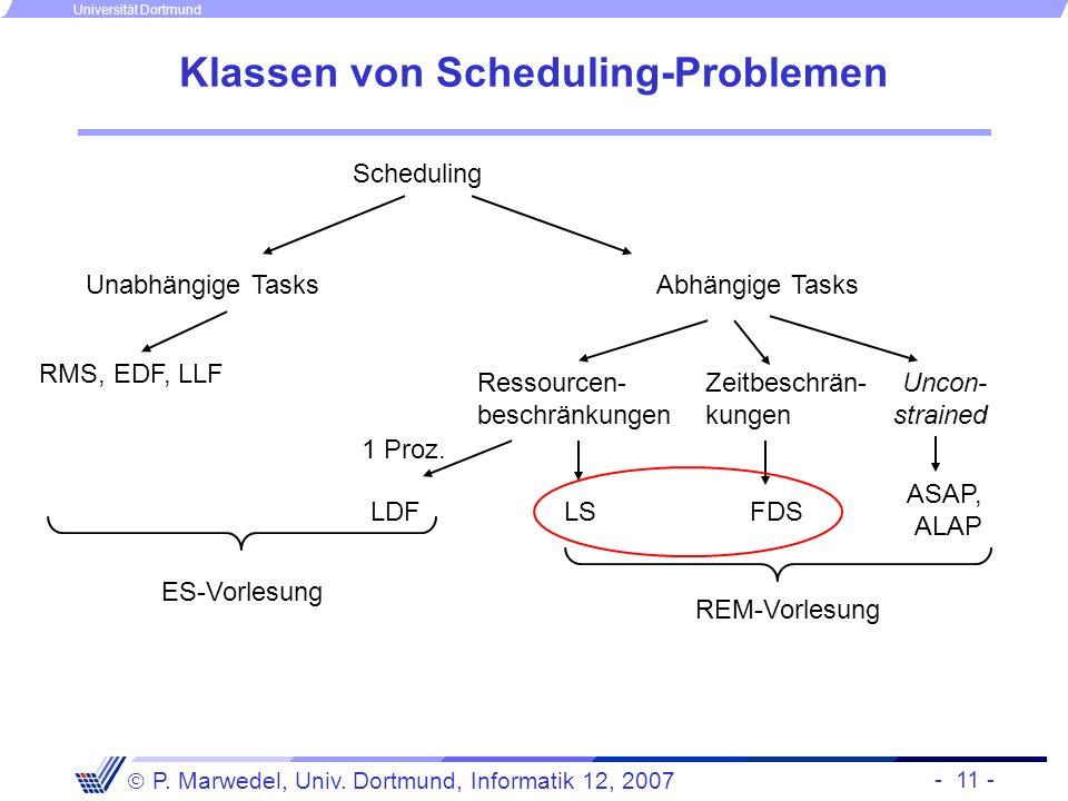 - 11 - P. Marwedel, Univ. Dortmund, Informatik 12, 2007 Universität Dortmund Klassen von Scheduling-Problemen Scheduling Unabhängige Tasks RMS, EDF, L