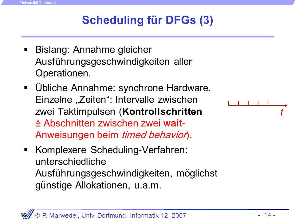 - 14 - P. Marwedel, Univ. Dortmund, Informatik 12, 2007 Universität Dortmund Scheduling für DFGs (3) Bislang: Annahme gleicher Ausführungsgeschwindigk