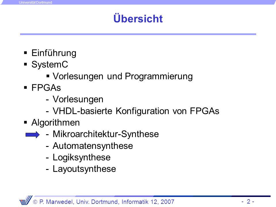 - 2 - P. Marwedel, Univ. Dortmund, Informatik 12, 2007 Universität Dortmund Übersicht Einführung SystemC Vorlesungen und Programmierung FPGAs -Vorlesu