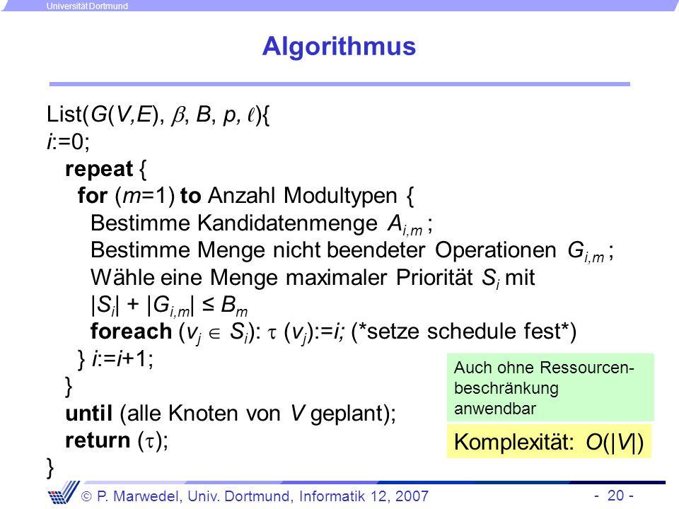 - 20 - P. Marwedel, Univ. Dortmund, Informatik 12, 2007 Universität Dortmund Algorithmus List(G(V,E),, B, p, ){ i:=0; repeat { for (m=1) to Anzahl Mod