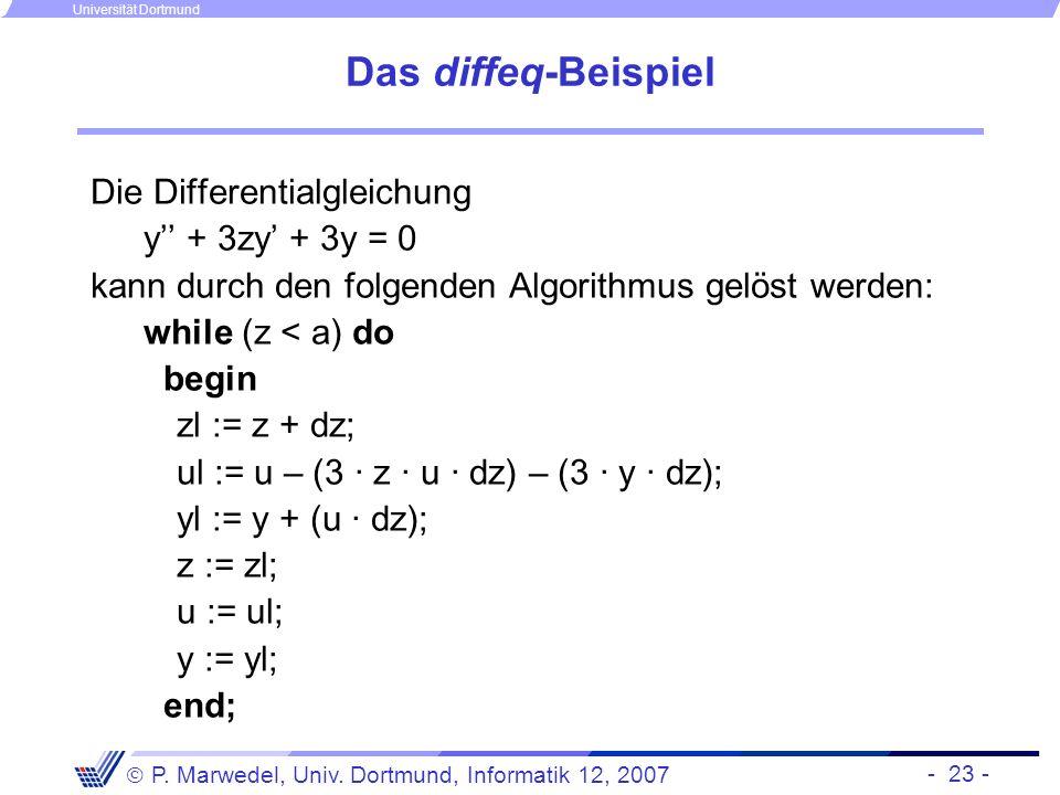 - 23 - P. Marwedel, Univ. Dortmund, Informatik 12, 2007 Universität Dortmund Das diffeq-Beispiel Die Differentialgleichung y + 3zy + 3y = 0 kann durch