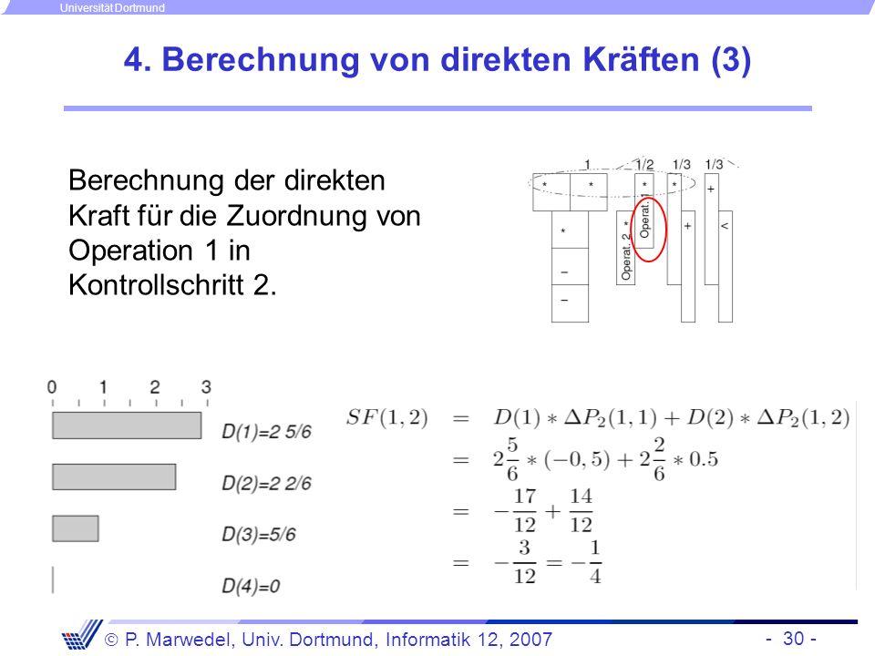 - 30 - P. Marwedel, Univ. Dortmund, Informatik 12, 2007 Universität Dortmund 4. Berechnung von direkten Kräften (3) Berechnung der direkten Kraft für