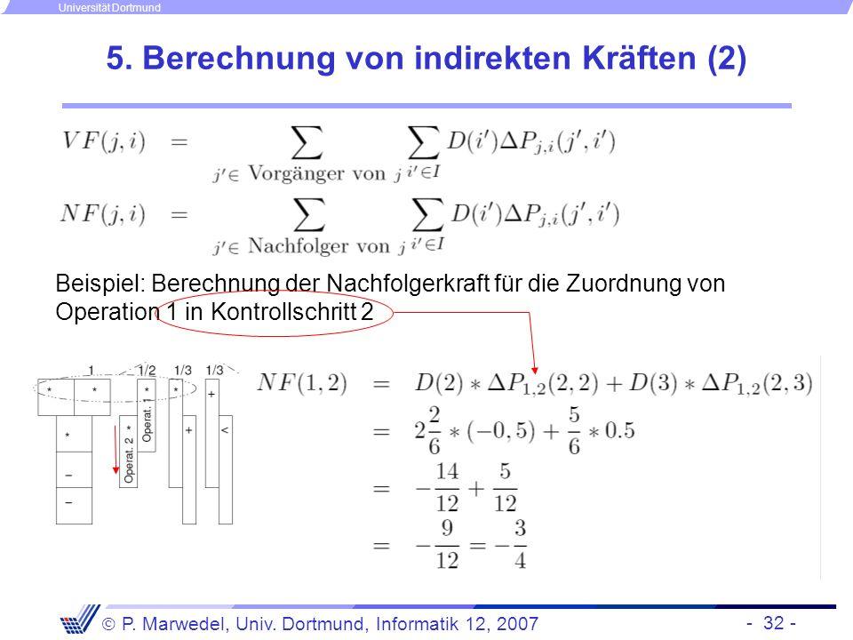 - 32 - P. Marwedel, Univ. Dortmund, Informatik 12, 2007 Universität Dortmund 5. Berechnung von indirekten Kräften (2) Beispiel: Berechnung der Nachfol