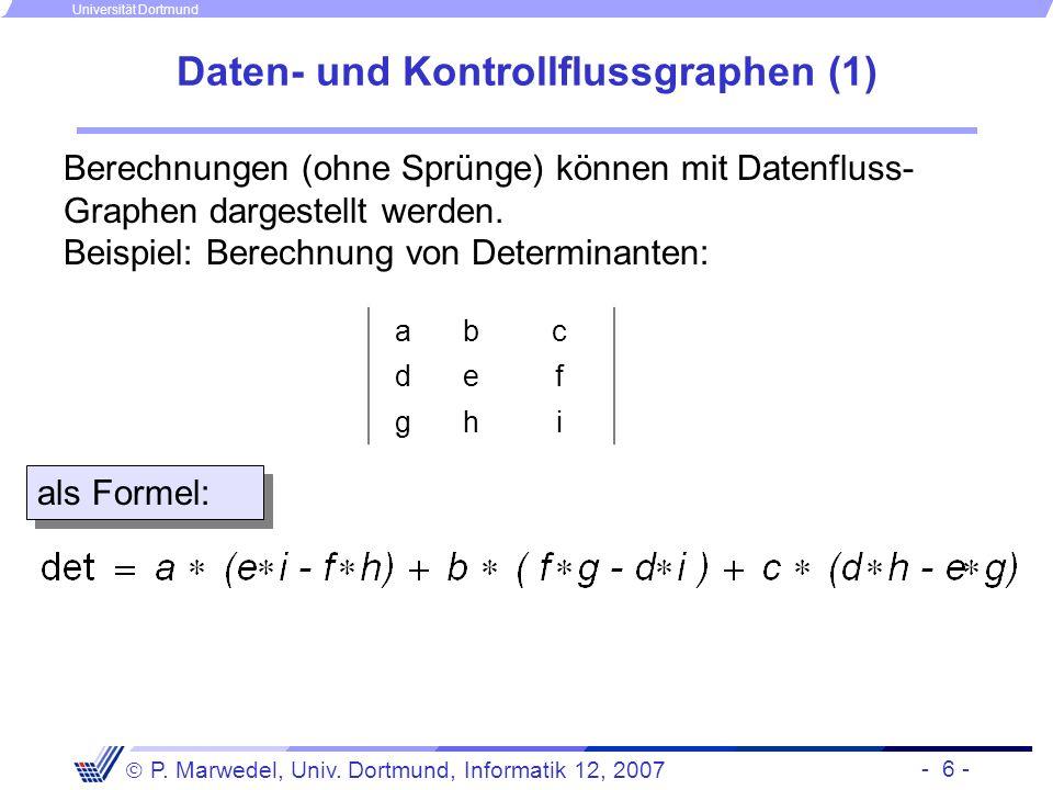 - 6 - P. Marwedel, Univ. Dortmund, Informatik 12, 2007 Universität Dortmund Daten- und Kontrollflussgraphen (1) Berechnungen (ohne Sprünge) können mit