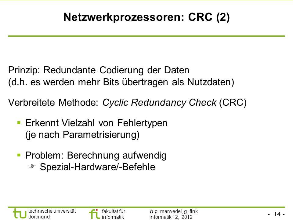 - 14 - technische universität dortmund fakultät für informatik p. marwedel, g. fink informatik 12, 2012 Netzwerkprozessoren: CRC (2) Prinzip: Redundan