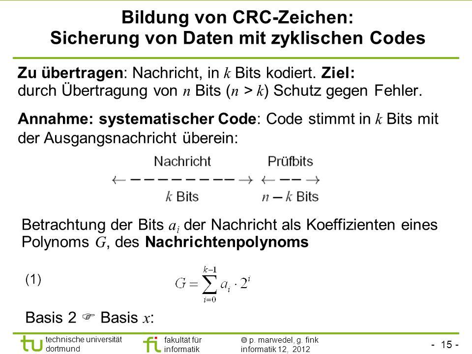 - 15 - technische universität dortmund fakultät für informatik p. marwedel, g. fink informatik 12, 2012 Zu übertragen: Nachricht, in k Bits kodiert. Z