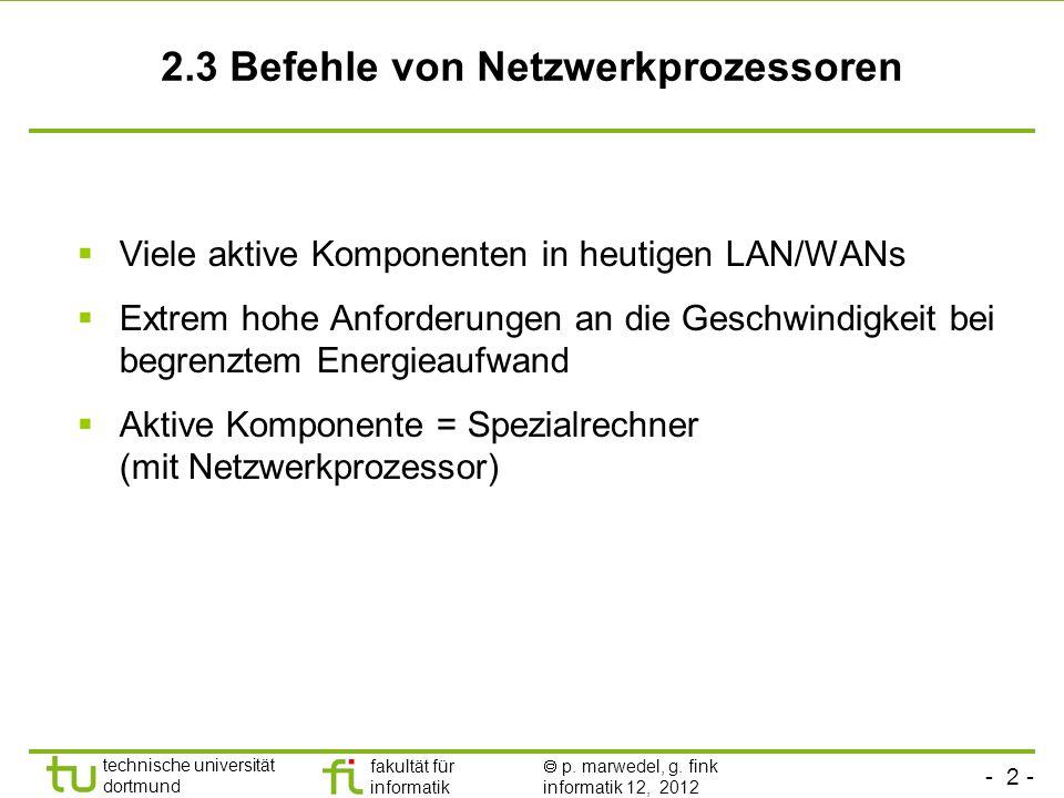 - 2 - technische universität dortmund fakultät für informatik p. marwedel, g. fink informatik 12, 2012 2.3 Befehle von Netzwerkprozessoren Viele aktiv