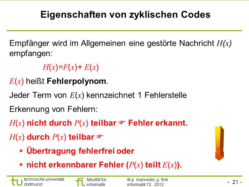 - 21 - technische universität dortmund fakultät für informatik p. marwedel, g. fink informatik 12, 2012 Eigenschaften von zyklischen Codes Empfänger w