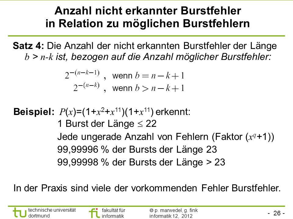- 26 - technische universität dortmund fakultät für informatik p. marwedel, g. fink informatik 12, 2012 Anzahl nicht erkannter Burstfehler in Relation