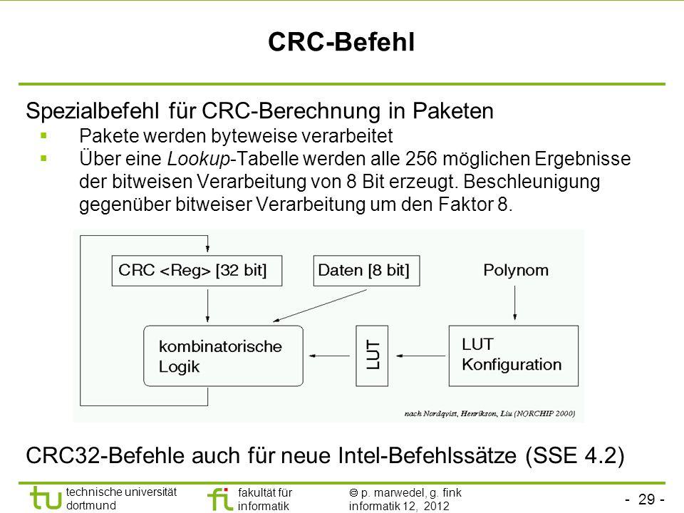 - 29 - technische universität dortmund fakultät für informatik p. marwedel, g. fink informatik 12, 2012 CRC-Befehl Spezialbefehl für CRC-Berechnung in
