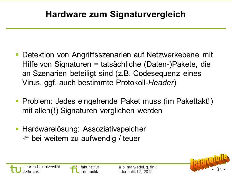 - 31 - technische universität dortmund fakultät für informatik p. marwedel, g. fink informatik 12, 2012 Hardware zum Signaturvergleich Detektion von A