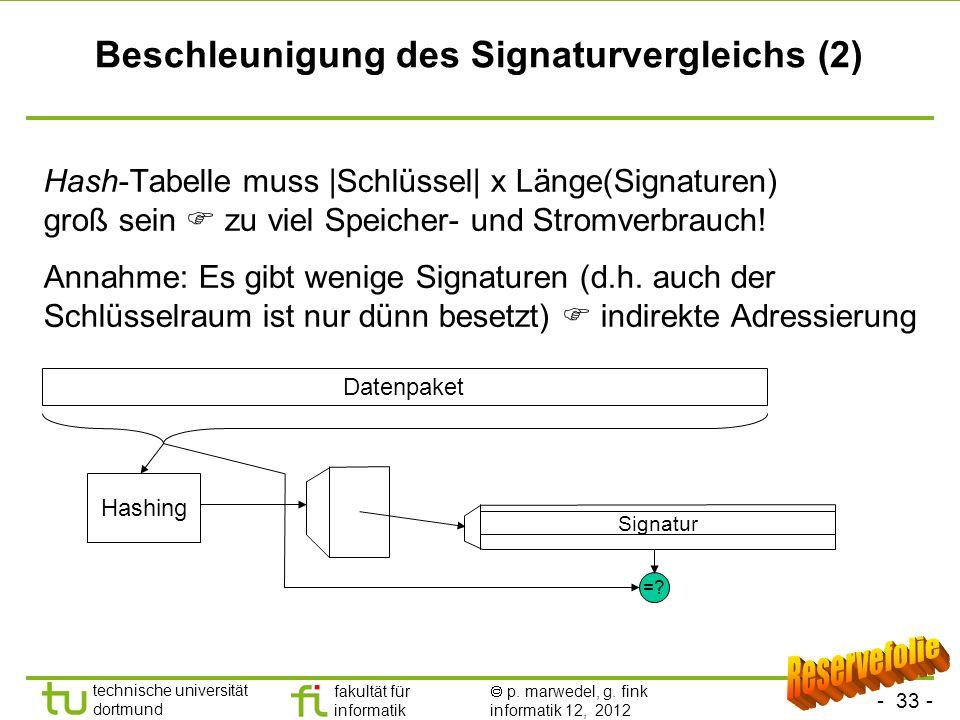 - 33 - technische universität dortmund fakultät für informatik p. marwedel, g. fink informatik 12, 2012 Beschleunigung des Signaturvergleichs (2) Hash