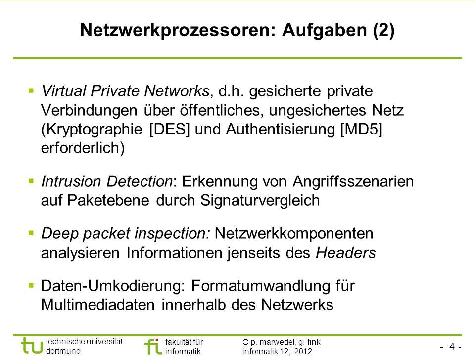 - 4 - technische universität dortmund fakultät für informatik p. marwedel, g. fink informatik 12, 2012 Netzwerkprozessoren: Aufgaben (2) Virtual Priva