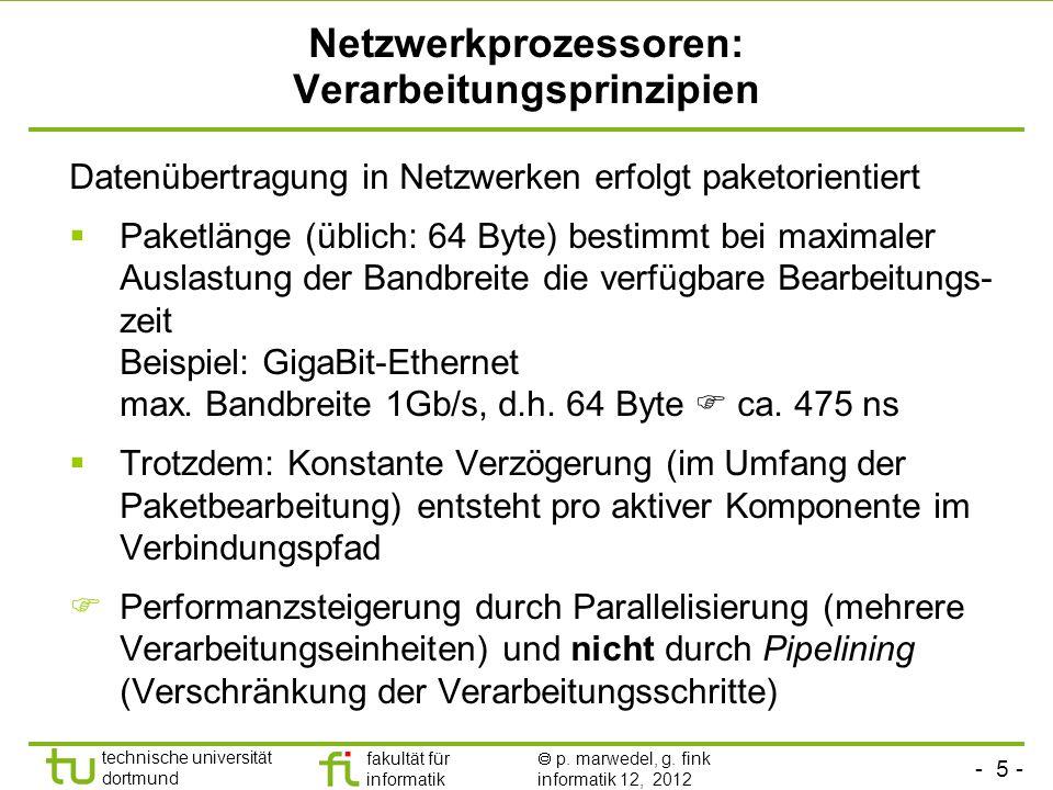- 5 - technische universität dortmund fakultät für informatik p. marwedel, g. fink informatik 12, 2012 Netzwerkprozessoren: Verarbeitungsprinzipien Da