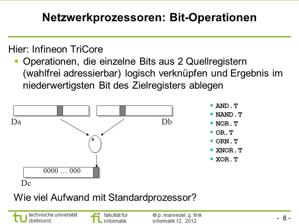 - 8 - technische universität dortmund fakultät für informatik p. marwedel, g. fink informatik 12, 2012 Netzwerkprozessoren: Bit-Operationen Hier: Infi