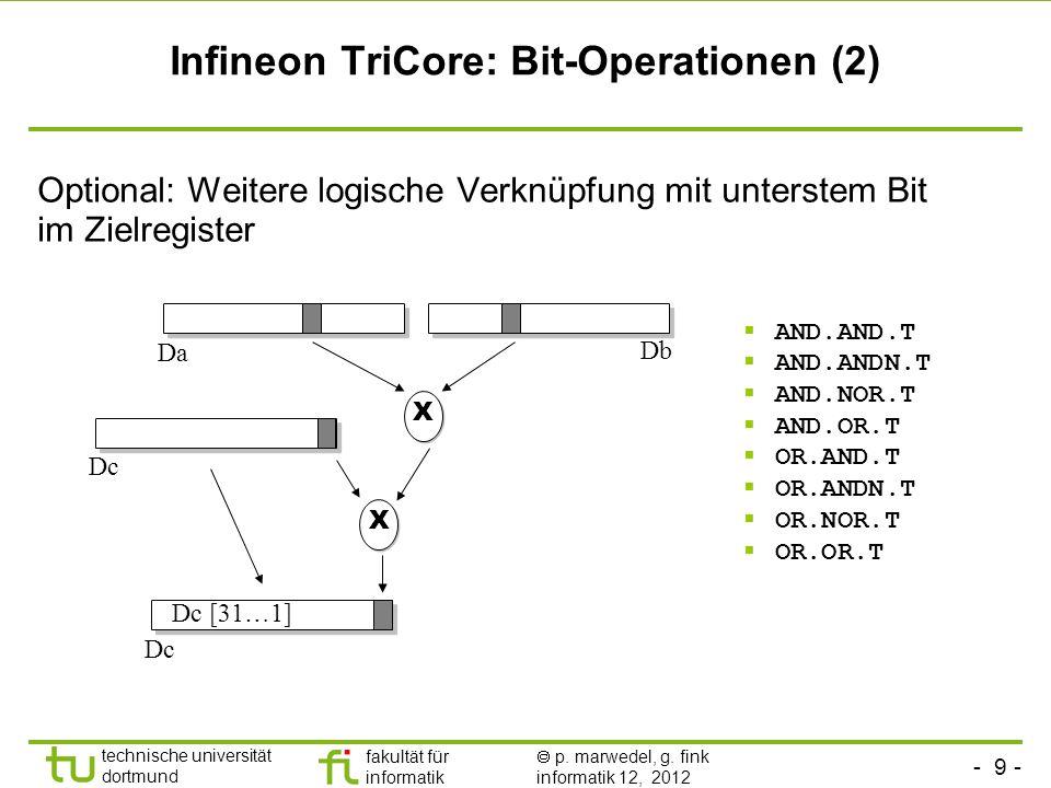 - 9 - technische universität dortmund fakultät für informatik p. marwedel, g. fink informatik 12, 2012 Infineon TriCore: Bit-Operationen (2) Optional: