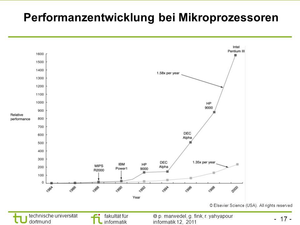 - 17 - technische universität dortmund fakultät für informatik p. marwedel, g. fink, r. yahyapour informatik 12, 2011 Performanzentwicklung bei Mikrop