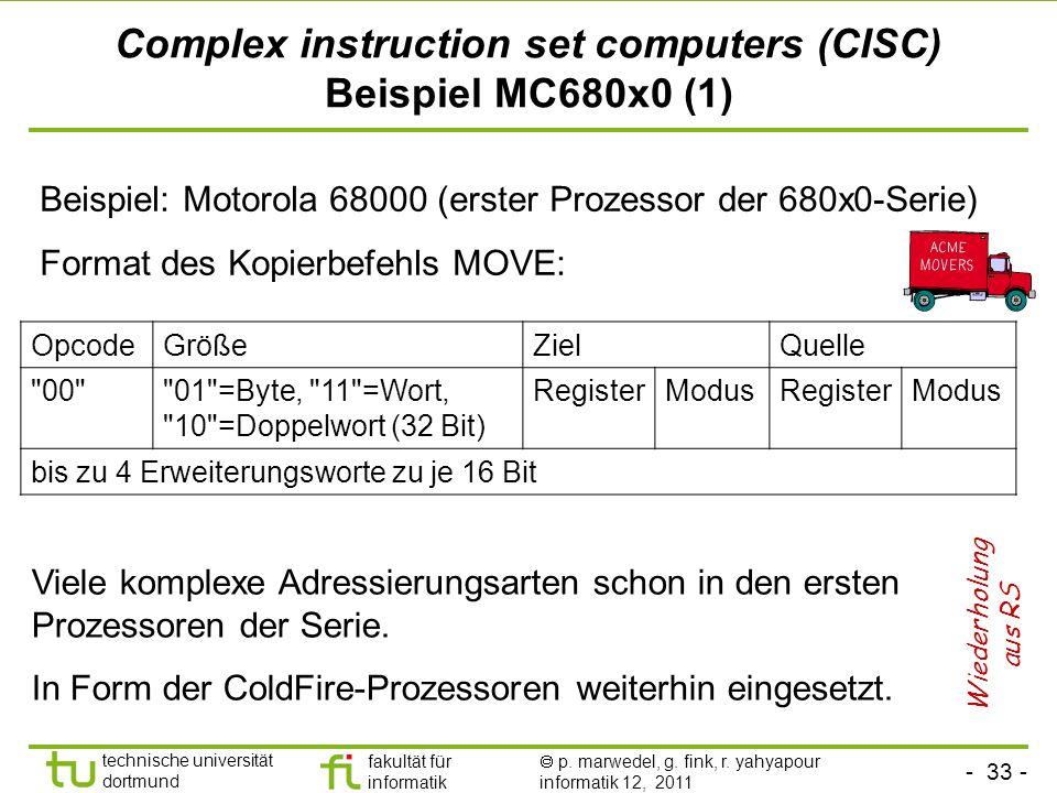 - 33 - technische universität dortmund fakultät für informatik p. marwedel, g. fink, r. yahyapour informatik 12, 2011 Complex instruction set computer